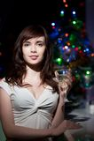 Sensual woman holding wineglass Royalty Free Stock Photos