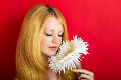 Sensual woman with large flower Stock Photo