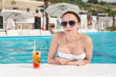 Sensual Woman Leaning on Pool Edge with Juice Stock Photo