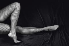 Sensual woman legs. Black and white sensual and beautiful woman legs Stock Images