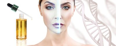 Sensual woman with lifting lines on face among DNA stems. Portrait of sensual woman with lifting lines on face among DNA stems royalty free stock image