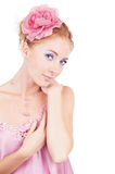 Sensual woman in lingerie and with flower Royalty Free Stock Photography