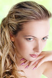 Sensual woman  with long blond hair Royalty Free Stock Images