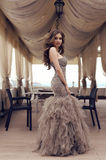 Sensual woman with long dark hair in luxurious sequin dress Royalty Free Stock Images