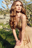 Sensual woman with long red hair in luxurious sequin dress Royalty Free Stock Photos