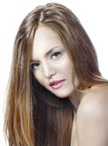 Sensual woman model with straight long blond hair. Over white Royalty Free Stock Image