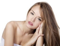 Sensual woman model with  straight long blond hair. Over white Royalty Free Stock Photography