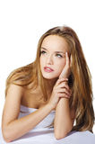 Sensual woman model with straight long blond hair. Over white Stock Photography