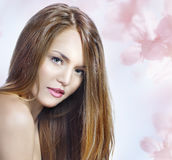 Sensual woman model with straight long blond hair Royalty Free Stock Photos
