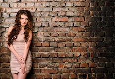 Sensual woman on old brick wall background Royalty Free Stock Image