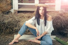 Free Sensual Woman On Hay In Barn, Agriculture Royalty Free Stock Image - 144426656