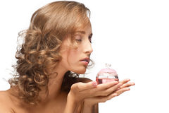 Sensual woman with perfume. Portrait of young beautiful woman with perfume Stock Images