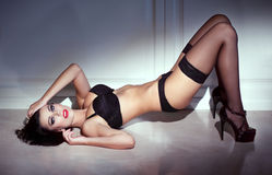 Sensual woman posing at night Royalty Free Stock Images
