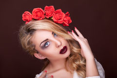 Sensual woman professional make up flowers in head Stock Photos