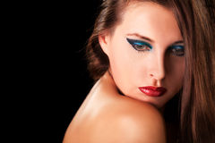 Sensual woman with professional makeup on black background Royalty Free Stock Image