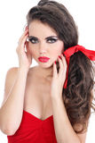 Sensual woman with red lips, care hands Royalty Free Stock Photos