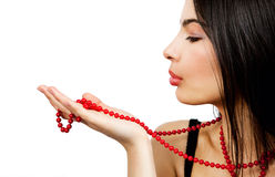 Sensual woman and red pearl necklace Royalty Free Stock Photos