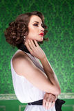 Sensual woman in retro room professional make up Stock Image