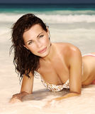 Sensual woman on seashore Royalty Free Stock Photography