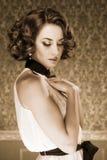 Sensual woman sepia tone vintage image Stock Photography