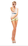 Sensual woman in shorts and blouse Stock Images