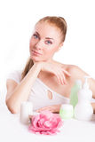 Sensual woman with skincare products Royalty Free Stock Images