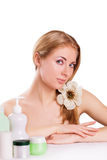 Sensual woman with skincare products Royalty Free Stock Photo