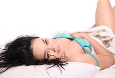 Sensual woman sleeping bed Stock Photos
