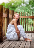 Sensual woman on spa resort Stock Images