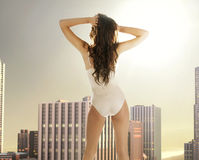 Sensual woman on the terrace of the building Royalty Free Stock Images