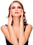Sensual woman touching her face royalty free stock photo