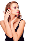 Sensual woman touching her face royalty free stock image