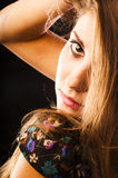 Sensual woman touching her hair Royalty Free Stock Images