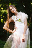 Sensual woman in transparent dress on sunlight Royalty Free Stock Photo