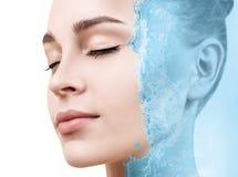 Sensual woman under water splash with fresh skin. Royalty Free Stock Photos