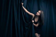 Sensual woman in underwear, dark background Royalty Free Stock Photo
