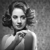 Sensual woman vintage interior retro style Royalty Free Stock Image