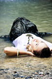 Sensual woman in water Royalty Free Stock Images