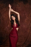 Sensual woman wearing red dress Royalty Free Stock Images