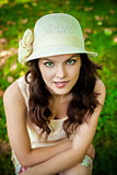 Sensual woman wearing a straw hat Royalty Free Stock Photo