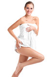 Sensual woman in a white towel Stock Photo