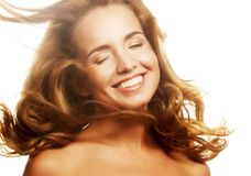 Sensual woman with windswept flying blond hair. Royalty Free Stock Photos