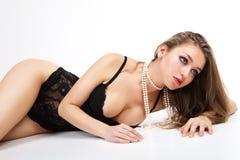 Sensual women in black lingerie. Stock Image