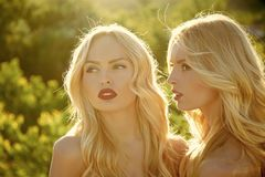 Sensual woman body. Twins in summer sunny weather. Sensual women body. Twins in summer sunny weather. Beauty and fashion, look. Girls with red lips, family and royalty free stock image
