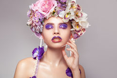 Sensual young adult woman with wreath on head Stock Images
