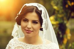 Sensual young bride stock photography