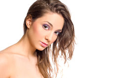 Sensual young brunette woman. Royalty Free Stock Images