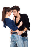 Sensual young couple. Isolated on white background. High resolution studio image Stock Images