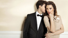 Sensual young couple in elegant clothes Stock Images