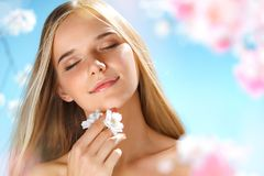 Sensual young girl with natural makeup. Youth and skin care. Spring stock photos